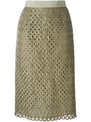 Marco Bologna Lace Cut Out Skirt Green