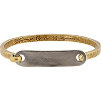 Giles And Brother Men's Id Tag With Hinge Cuff Bracelet No Color