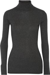 Vince Ribbed Knit Turtleneck Sweater Charcoal