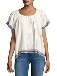 Max Studio Button Front Cotton Top Ivory Pink