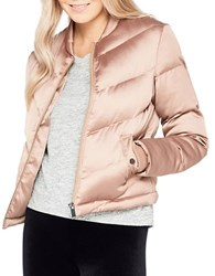Miss Selfridge Short Satin Puffer Coat Pink