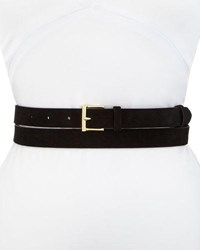 Frame Double Wrap Suede Leather Belt Black