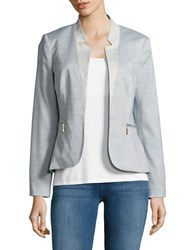 Ivanka Trump Chambray Open Front Blazer Light Blue