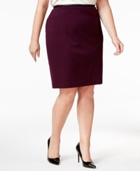 Calvin Klein Plus Size Faux Leather Trim Straight Skirt Aubergine