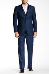 English Laundry Blue Windowpane Two Button Notch Lapel Wool Three Piece Suit