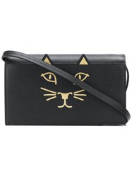 Charlotte Olympia Feline Clutch Bag Black