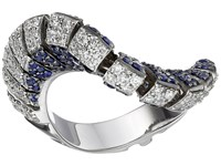 Miseno Ventaglio 18K Gold Diamond Sapphire Ring White Gold Ring