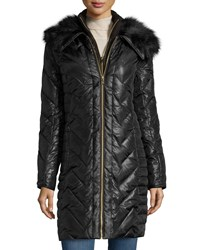 Via Spiga Long Chevron Quilted Puffer Coat W Faux Fur Collar And Faux Leather Trim Black With