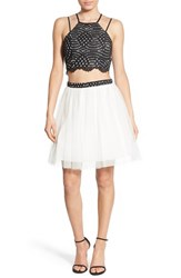 Women's Sequin Hearts Two Piece Party Dress