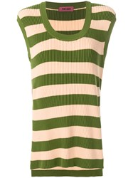 The Gigi Ribbed Striped Vest Top Green