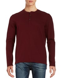 Kenneth Cole Cotton Blend Henley Tee Malbec