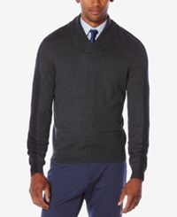 Perry Ellis Men's Jacquard Shawl Collar Sweater Silver