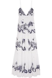 Roberto Cavalli Embroidered Cotton Voile Maxi Dress White