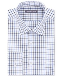 Geoffrey Beene Men's Tall Bedford Cord Classic Fit Blue Multi Check Dress Shirt