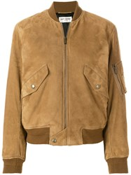 Saint Laurent Lambskin Bomber Jacket Brown
