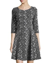 Taylor 3 4 Sleeve Floral Print Jacquard Dress Black White