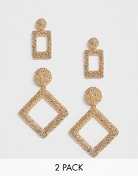 New Look 2 Pack Textured Drop And Earrings In Gold