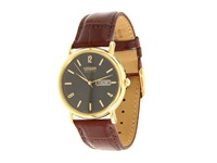 Citizen Bm8242 08E Eco Drive Leather Watch Brown Band Gold Case Black Dial Watches