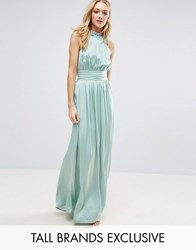 Little Mistress Tall Ruched Pleated Maxi Prom Dress Sage Green