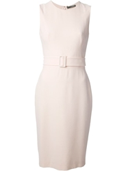 Alexander Mcqueen Belted Pencil Dress Pink And Purple