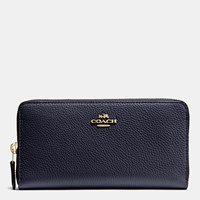 Coach Accordion Zip Wallet In Polished Pebble Leather Li Navy