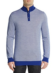 Canali Tweed Henley Pullover Blue