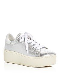 Ash Cult Metallic Lace Up Platform Sneakers Silver White