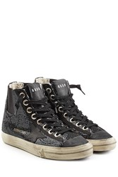 Golden Goose V Star 1 High Top Sneakers With Glitter And Leather