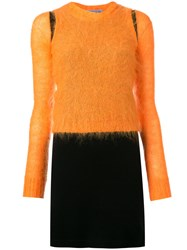 Walter Van Beirendonck Vintage Mohair Overlay Dress Yellow Orange