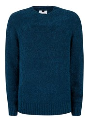 Topman Petrol Blue Chunky Boucle Textured Sweater