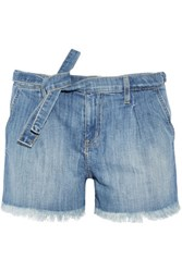 Current Elliott The Pleated Cut Off Stretch Denim Shorts Light Denim