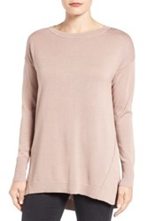 Caslon Zip Back High Low Tunic Sweater Petite Pink