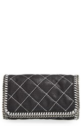 Stella Mccartney 'Falabella' Quilted Faux Leather Crossbody Bag Black Black Silver