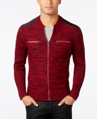 Inc International Concepts Men's Manchester Heathered Mixed Media Sweater Only At Macy's Bright Rhubarb