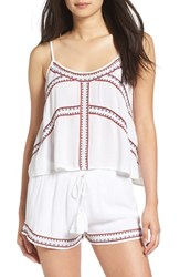 Band Of Gypsies Women's Embroidered Split Back Tank Ivory Red