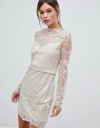 Zibi London Lace Dress Gold