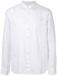 120 Lino Long Sleeved Grandad Shirt White