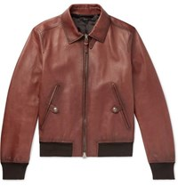 Tom Ford Slim Fit Leather Bomber Jacket Brown