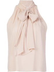 Alice Olivia Bow Tie Blouse Nude Neutrals