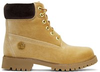 Off White Tan Timberland Edition Velvet Boots