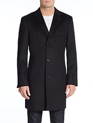 Saks Fifth Avenue Trim Fit Notched Lapel Wool And Cashmere Coat Black