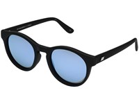 Le Specs Hey Macarena Black Rubber Ice Blue Revo Mirror Polarized Fashion Sunglasses