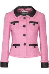 Moschino Satin Twill Trimmed Cotton Blend Boucle Tweed Jacket Baby Pink
