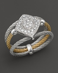 Charriol Classique Collection 18K White Gold And Stainless Steel Nautical Cable Diamond Ring Yellow Grey