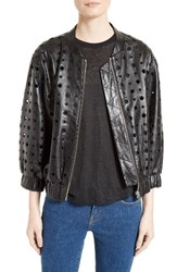 Iro Women's Cillian Leather Eyelet Bomber Jacket