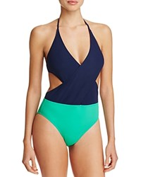 Tory Burch Color Block Wrap One Piece Swimsuit Tory Navy