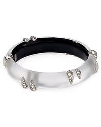 Alexis Bittar Lucite Encrusted Spike Hinge Bangle Silver