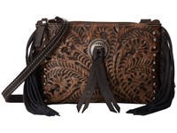 American West Honky Tonk Days Fringe Crossbody Distressed Charcoal Brown Black Cross Body Handbags