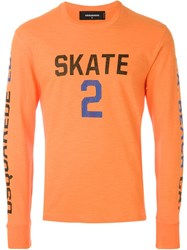 Dsquared2 Skate 2 Print Long Sleeve T Shirt Yellow And Orange