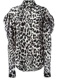 Saint Laurent Leopard Print Blouse Black